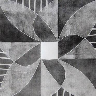 Jerry Skibell, Pinwheel Series - Flower 2, relief mono print, 13x13 in., 2012